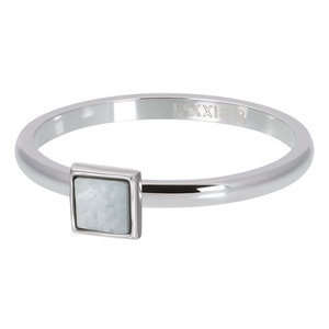 iXXXi ring White Shell Stone Square Zilver 2mm R04213-03