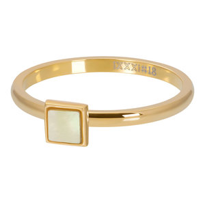iXXXi ring Yellow Shell Stone Square Goud 2mm R04213-01