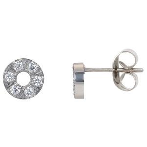 iXXXi oorbellen. Ear studs Circle stone 6 mm. Zilver E0380199003