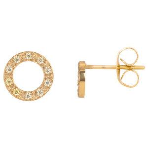 iXXXi oorbellen. Ear studs Circle stone 10 mm. Goud E0390199001