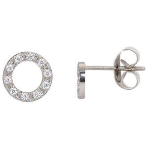 iXXXi oorbellen. Ear studs Circle stone 10 mm. Zilver E0390199003